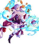 1girl alternate_costume bangs boots bow breasts buttons candy cape circlet detached_sleeves dress eyebrows_visible_through_hair fire_emblem fire_emblem:_path_of_radiance fire_emblem:_radiant_dawn fire_emblem_heroes food fuji_choko full_body gloves hair_ornament halloween_costume highres holding ilyana_(fire_emblem) jewelry knee_boots long_hair long_sleeves looking_away medium_breasts official_art open_mouth pantyhose purple_footwear purple_gloves purple_hair shiny shiny_hair short_dress skirt solo tied_hair transparent_background violet_eyes white_legwear