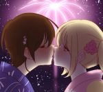 2girls alternate_costume alternate_hairstyle asagao_to_kase-san blonde_hair blush brown_hair closed_eyes couple ears festival fireworks flower hair_flower hair_ornament imminent_kiss kase_tomoka kiss looking_at_another multiple_girls pink_flower reichan-m short_hair sky star_(sky) starry_sky yamada_yui yuri