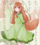 1girl animal_ears arms_behind_back bangs blush brown_hair dress floral_background green_dress holo kazami-s pouch red_eyes smile spice_and_wolf tail wolf_ears wolf_tail zoom_layer