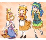 6+girls :d ? ^_^ alice_margatroid alternate_costume apron aqua_apron aqua_footwear bangs black_footwear black_ribbon blonde_hair blue_dress blue_hair blunt_bangs blush bow capelet closed_eyes commentary double_bun dress eighth_note emphasis_lines english_commentary enmaided eyebrows_visible_through_hair eyelashes frilled_hairband frills gradient gradient_background hair_between_eyes hair_bow hair_ribbon hairband hand_up haniwa_(statue) haniyasushin_keiki happy_tears head_scarf heart interlocked_fingers joutouguu_mayumi juliet_sleeves lolita_hairband long_hair long_sleeves looking_at_another maid maid_apron mary_janes multiple_girls musical_note o_o open_mouth orange_background orange_dress own_hands_together palms_together pantyhose pink_neckwear pink_sash pocket puffy_short_sleeves puffy_sleeves puppet_rings red_bow red_hairband ribbon sandals sash seiza shanghai_doll shoes short_sleeves sitting smile sweat tears touhou waist_apron white_apron white_capelet white_legwear wide_sleeves wool_(miwol) yellow_dress yellow_eyes