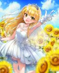 1girl armpits bangs blonde_hair blue_sky blurry_foreground clouds collarbone day dress earrings eyebrows_visible_through_hair floating_hair flower gloves green_eyes highres idolmaster idolmaster_cinderella_girls jewelry jougasaki_rika leg_up long_hair looking_at_viewer necklace outdoors outstretched_arm shiny shiny_hair short_dress sky sleeveless sleeveless_dress solo sparkle standing strapless strapless_dress sukisukiharami sunflower thigh_strap v very_long_hair wedding_dress white_dress white_gloves yellow_flower