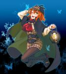 1girl ;d black_background black_footwear black_legwear blue_background boots brown_hair brown_shorts bug butterfly cosplay dress_shirt fate/grand_order fate_(series) fujimaru_ritsuka_(female) full_body hand_in_hair holding_lantern insect knee_boots lantern legs_up legwear_under_shorts looking_at_viewer medium_hair one_eye_closed open_mouth pantyhose plaid plaid_shorts red_neckwear redrabbit44 sherlock_holmes sherlock_holmes_(cosplay) shirt short_shorts shorts smile solo white_shirt yellow_eyes