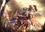 2girls :d animal archer archer_(cosplay) armored_boots artoria_pendragon_(all) bangs black_bow blurry blurry_foreground boots bow breasts brown_eyes bug building butterfly caliburn chloe_von_einzbern clouds cloudy_sky commentary_request cosplay depth_of_field detached_sleeves dress dutch_angle eyebrows_visible_through_hair fate/kaleid_liner_prisma_illya fate/stay_night fate/unlimited_codes fate_(series) flower grey_hair hair_between_eyes hair_bow highres holding holding_sword holding_weapon illyasviel_von_einzbern insect jacket kanshou_&_bakuya long_hair multiple_girls open_mouth outdoors ponytail profile puffy_short_sleeves puffy_sleeves red_eyes red_jacket saber_lily saber_lily_(cosplay) short_sleeves sidelocks sky small_breasts smile standing strapless strapless_dress sunlight sword thigh-highs tower utatanecocoa weapon white_dress white_flower white_legwear white_sleeves