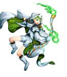 1boy alternate_costume arrow blue_eyes boots bow_(weapon) cake cape fire fire_emblem fire_emblem:_path_of_radiance fire_emblem_heroes food full_body ghost_costume gloves green_hair halloween halloween_costume highres mikurou_(nayuta) official_art open_mouth pumpkin rolf_(fire_emblem) solo teeth transparent_background weapon