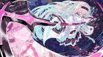 1girl bangs belt black_hairband black_legwear black_ribbon black_skirt blue_eyes bodypaint braid breasts enouchi_ai eyebrows_visible_through_hair eyelashes frilled_skirt frills glasses gretel_(mary_skelter) grey_hair hairband holding holding_scythe holding_weapon jacket long_hair long_sleeves mary_skelter open_mouth outdoors pink_eyes reflection ribbon scythe shoes skirt smile solo weapon white_belt white_jacket