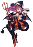 1girl absurdres black_legwear blue_eyes choker cosplay demon_tail demon_wings ebinku elizabeth_bathory_(halloween_caster)_(fate) elizabeth_bathory_(halloween_caster)_(fate)_(cosplay) fate/grand_order fate_(series) felicia_(fire_emblem) fire_emblem fire_emblem_fates full_body halloween_costume hat high_heels highres holding long_hair long_sleeves open_mouth pink_hair polearm simple_background solo tail thigh-highs trident weapon white_background wings witch_hat