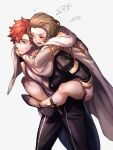 1boy 1girl brown_hair carrying closed_eyes closed_mouth fire_emblem fire_emblem:_three_houses garreg_mach_monastery_uniform high_heels highres long_sleeves manuela_casagranda moyashi_mou2 open_mouth pants piggyback redhead short_hair short_sleeves simple_background sylvain_jose_gautier uniform white_background