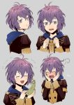 1girl akke bernadetta_von_varley blush closed_eyes epaulettes fire_emblem fire_emblem:_three_houses from_side garreg_mach_monastery_uniform grey_background grey_eyes hood hood_down long_sleeves looking_to_the_side multiple_views open_mouth parted_lips purple_hair short_hair simple_background tearing_up uniform