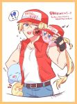 !? 4boys artist_name baseball_cap blonde_hair blue_eyes cheek_poking clone cosplay crossover fatal_fury fingerless_gloves gloves hal_laboratory_inc. hat hoshi_no_kirby human kirby kirby_(series) kirby_(specie) long_hair male_focus maxim_tomato musical_note nintendo nyanpokosuke pink_puff_ball poking ponytail sleeping snk sora_(company) spoken_musical_note super_smash_bros. terry_bogard terry_bogard_(cosplay) the_king_of_fighters vest