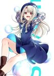 1girl arms_behind_head arms_up bangs beret blue_dress blue_headwear blush boots breasts bubble dress fate/stay_night fate_(series) hat highres illyasviel_von_einzbern long_hair looking_at_viewer open_mouth red_eyes smile solo thighs white_background white_hair yaoshi_jun