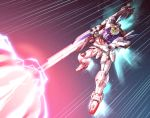 beam beam_cannon firing green_eyes gundam highres ishiyumi mecha mecha_request motion_lines no_humans solo space thrusters