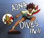 1boy 1girl absurdres ajna_(indivisible) ankle_wrap axe beads bike_shorts bracelet brown_eyes brown_hair dark_skin fizzysenpai flying_kick gloves highres indivisible jewelry kicking naga_rider sandals short_sleeves shorts single_glove thumbs_up