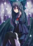 1girl absurdres black_hair black_legwear black_wings bow closed_mouth commentary_request eyebrows_visible_through_hair feet_out_of_frame green_bow hair_bow highres long_hair looking_at_viewer pantyhose partial_commentary puffy_sleeves red_eyes reiuji_utsuho sitting skirt solo tenamaru third_eye touhou v_arms wings