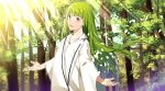 1other :d androgynous commentary_request day enkidu_(fate/strange_fake) fate/strange_fake fate_(series) green_hair long_hair looking_at_viewer open_mouth outstretched_arms sahuyaiya signature smile solo tree white_robe yellow_eyes
