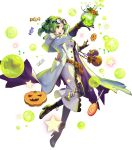 1girl bangs black_footwear black_legwear boots breasts buttons candy coat earrings eyewear_on_head fire_emblem fire_emblem:_the_sacred_stones fire_emblem_heroes food full_body glasses gloves green_eyes green_hair halloween_costume high_heel_boots high_heels highres holding jewelry konfuzikokon l'arachel_(fire_emblem) labcoat long_hair looking_away medium_breasts official_art open_mouth shiny shiny_hair smile solo test_tube thigh-highs tied_hair transparent_background turtleneck