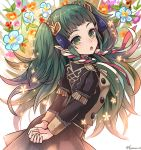 1girl alternate_costume arms_behind_back braid fire_emblem fire_emblem:_three_houses flower from_side fujimaru_(green_sparrow) garreg_mach_monastery_uniform green_eyes green_hair hair_ornament long_hair long_sleeves looking_to_the_side open_mouth pointy_ears solo sothis_(fire_emblem) twin_braids twitter_username uniform