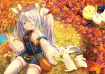 1girl :o alternate_costume autumn_leaves azur_lane bag bangs collarbone commentary_request eating eyebrows_visible_through_hair food grass handbag laffey_(azur_lane) lavender_hair leaf lettuce long_hair long_sleeves manjuu_(azur_lane) meowfficer_(azur_lane) nature off_shoulder one_eye_closed open_mouth outdoors overall_skirt puffy_sleeves rabbit red_eyes sandwich sidelocks sitting squirrel thigh-highs umika35 very_long_hair white_legwear