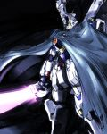 beam_saber cape crossbone_gundam crossbone_gundam_x-1 dark glowing glowing_eyes glowing_mouth green_eyes gundam highres ishiyumi looking_at_viewer mecha no_humans standing
