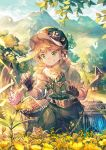1boy black_gloves blue_butterfly brown_hair bug butterfly cage character_request clouds commentary_request day fingerless_gloves flower gloves granblue_fantasy green_eyes grin hat highres insect male_focus mountain outdoors pants scorpion5050 shirt short_hair sky smile solo standing tree