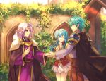 1girl 2900cm 2boys aqua_hair artist_name breastplate brother_and_sister cape circlet closed_eyes closed_mouth eirika_(fire_emblem) ephraim_(fire_emblem) fire_emblem fire_emblem:_the_sacred_stones from_side handshake leaf long_hair long_sleeves lyon_(fire_emblem) multiple_boys parted_lips purple_hair short_hair shoulder_armor siblings skirt smile violet_eyes white_skirt wide_sleeves