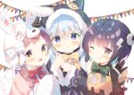 3girls :d :o ;q akane_mimi akane_mimi_(cosplay) animal_ears animal_hat animal_hood bandaged_ear bandaged_hands bandages bangs bell black_capelet black_gloves black_hair black_jacket blue_hair blush bolt bow brown_eyes brown_hair bunny_hat capelet cat_ears cat_hood chimame-tai closed_mouth commentary_request cosplay elbow_gloves eyebrows_visible_through_hair fake_animal_ears fur-trimmed_capelet fur-trimmed_hood fur-trimmed_sleeves fur_trim gloves gochuumon_wa_usagi_desu_ka? green_bow hair_between_eyes hair_ornament hands_up hat hikawa_kyoka hikawa_kyoka_(cosplay) hodaka_misogi hodaka_misogi_(cosplay) hood hooded_capelet jacket jingle_bell jouga_maya kafuu_chino lightning_bolt lightning_bolt_hair_ornament long_hair long_sleeves looking_at_viewer low_twintails multiple_girls natsu_megumi one_eye_closed open_mouth parted_lips pennant pink_capelet princess_connect! princess_connect!_re:dive red_bow simple_background smile string_of_flags tongue tongue_out twintails violet_eyes white_background wide_sleeves x_hair_ornament yellow_bow yuizaki_kazuya