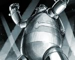 arms_up clenched_hands from_below greyscale highres ishiyumi looking_away mecha monochrome no_humans solo standing tetsujin_28 tetsujin_28-gou
