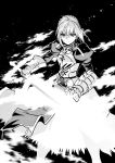 1girl absurdres ahoge armor artoria_pendragon_(all) black_background fate/stay_night fate_(series) gauntlets greyscale highres ishiyumi juliet_sleeves long_sleeves looking_at_viewer monochrome puffy_sleeves saber solo standing