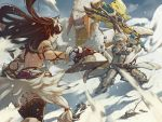 1boy 1girl armor backless_outfit barioth barioth_(armor) black_hair charge_blade dagger dual_wielding fangs fur_trim gloves helmet holding horned_headwear kirin_(armor) long_hair monster monster_hunter monster_hunter:_world open_mouth snow thigh-highs tusks user_gyfp4747 weapon