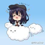 >_< 1girl :3 akatsuki_(kantai_collection) anchor_symbol black_headwear black_sailor_collar blue_background blush chibi closed_eyes closed_mouth clouds commentary_request flat_cap gradient gradient_background hat kantai_collection long_hair long_sleeves miicha neckerchief nose_blush open_mouth purple_hair red_neckwear remodel_(kantai_collection) sailor_collar school_uniform serafuku shirt solo sweatdrop teardrop twitter_username very_long_hair wavy_mouth white_shirt