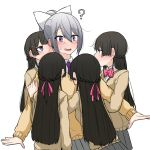 absurdres black_hair braid clone hair_ribbon highres higuchi_kaede long_hair nijisanji open_mouth ponytail ribbon ryon_1925 school_uniform tsukino_mito white_hair yuri
