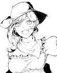 1girl bare_shoulders cowboy_hat greyscale handkerchief hat highres hiyuu_(flying_bear) kurokoma_saki looking_at_viewer monochrome off_shoulder open_mouth short_sleeves simple_background smile solo teeth touhou wily_beast_and_weakest_creature
