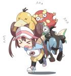 >_< bangs black_legwear blue_footwear blue_sleeves blush brown_hair carrying chibi closed_eyes darumaka double_bun flying_sweatdrops full_body gen_1_pokemon gen_4_pokemon gen_5_pokemon hyakuen_raitaa injury leg_up long_hair lucario magnemite mei_(pokemon) open_mouth pantyhose pink_headwear pink_legwear poke_ball_symbol poke_ball_theme pokemon pokemon_(creature) pokemon_(game) pokemon_bw2 psyduck raglan_sleeves servine shiny shiny_hair shirt shoes short_shorts shorts simple_background socks sweat teeth tied_hair twintails visor_cap walking white_background white_shirt x_x yellow_shorts