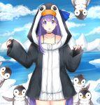 1girl animal animal_hood bird black_choker black_jacket blue_bow blue_sky bow choker clouds cloudy_sky collarbone cowboy_shot day fate/grand_order fate_(series) hood hood_up hooded_jacket ice iceberg jacket long_hair long_sleeves looking_at_viewer meltryllis meltryllis_(swimsuit_lancer)_(fate) open_mouth outdoors penguin penguin_hood pinching_sleeves purple_hair rocm_(nkkf3785) sky sleeves_past_wrists solo very_long_hair violet_eyes water