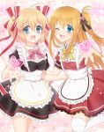 2girls absurdres alternate_costume apron black_dress blonde_hair blue_eyes charlotte_(anime) commentary_request company_connection cowboy_shot crossover dress enmaided frilled_apron frilled_dress frills hair_ribbon heart highres kamikita_komari key_(company) little_busters! long_hair looking_at_viewer maid miyoshi_yun multiple_girls nishimori_yusa one_eye_closed one_side_up pink_background red_dress ribbon short_hair smile sparkle_background standing thigh-highs twintails white_apron white_legwear