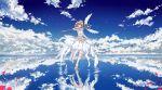 1girl absurdres antenna_hair brown_hair cardcaptor_sakura clear_card clow_card dress green_eyes hair_ornament highres jin_yun kinomoto_sakura magical_girl ribbon salar_de_uyuni shoes short_hair skirt sky wings