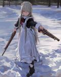 1girl animal_ears apron boots cat_ears dual_wielding fkey forest grey_hair gun hair_between_eyes highres holding holding_gun holding_weapon maid maid_apron musket nature original outdoors snow solo violet_eyes weapon white_legwear