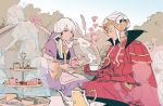 2girls bush cake closed_eyes closed_mouth cup dress edelgard_von_hresvelg fire_emblem fire_emblem:_three_houses flower food hair_ornament headpiece holding holding_cup holding_plate horns littlemute long_hair long_sleeves lysithea_von_ordelia multiple_girls open_mouth outdoors pink_eyes plate sitting table teacup teapot white_hair wide_sleeves