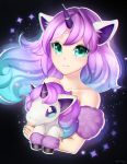 1girl animal_ear_fluff animal_ears bangs black_background blue_hair closed_mouth collarbone eyebrows_visible_through_hair floating_hair galar_form galarian_ponyta gen_8_pokemon gigamessy gradient_hair green_eyes horn horse_ears hug long_hair multicolored_hair original personification pokemon pokemon_(creature) purple_hair signature smile sparkle unicorn upper_body very_long_hair