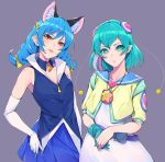 2girls :p animal_ears aqua_eyes aqua_gloves aqua_hair bangs bare_shoulders belt blue_hair breasts cat_ears detached_collar dress eyebrows_visible_through_hair gloves hagoromo_lala hair_ornament jewelry long_hair looking_at_viewer multiple_girls necklace orange_eyes parted_lips pleated_skirt pointy_ears precure purple_background simple_background single_glove skirt sleeveless smile star_twinkle_precure sugarbeat tongue tongue_out white_gloves yuni_(precure)