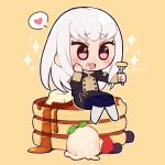 1girl do_m_kaeru fire_emblem fire_emblem:_three_houses food food_on_face fork garreg_mach_monastery_uniform holding holding_fork long_hair lysithea_von_ordelia open_mouth pancake pink_eyes simple_background sitting solo twitter_username uniform white_hair yellow_background