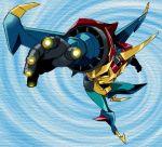 dynamic_pose finger_gun gaiking gaiking:_legend_of_daikuu_maryuu horn official_art raiking spiral wings