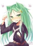 1girl animal_ears black_serafuku blush cat_ears crescent crescent_hair_ornament crescent_moon_pin eyebrows_visible_through_hair green_eyes green_hair hair_between_eyes hair_ornament highres hizaka kantai_collection long_hair long_sleeves looking_at_viewer nagatsuki_(kantai_collection) neckerchief open_mouth paw_pose school_uniform serafuku simple_background skirt solo twitter_username white_background white_neckwear