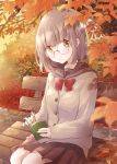 1girl autumn autumn_leaves bench black_sailor_collar black_skirt blurry book bookmark bow bowtie cardigan commentary_request day depth_of_field eyebrows_visible_through_hair feet_out_of_frame glasses head_tilt highres holding holding_book hoshiibara_mato leaf light_brown_hair looking_at_viewer maple_leaf open_book open_mouth original outdoors parted_lips pleated_skirt reading red_neckwear rimless_eyewear sailor_collar school_uniform serafuku short_hair sitting skirt solo tree