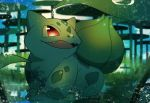 :3 blue_sky blurry blurry_background bulbasaur claws clouds day dew_drop fangs full_body gen_1_pokemon happy highres leaf lily_pad looking_up no_humans open_mouth outdoors plant pokemon pokemon_(creature) red_eyes sitting sky smile solo water water_drop yukifuri_tsuyu