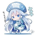 >:) +++ 1girl ainu_clothes alternate_color bangs beni_shake blue_footwear blue_headwear blush chibi closed_mouth commentary_request eyebrows_visible_through_hair fate/grand_order fate_(series) full_body fur-trimmed_boots fur_trim gloves hair_between_eyes hand_up hat illyasviel_von_einzbern leaning_to_the_side long_hair long_sleeves pantyhose shadow silver_hair sitonai smile solo standing v-shaped_eyebrows very_long_hair white_background white_gloves white_legwear wide_sleeves