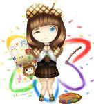 1_boy 4_girls bow brown_hair cute emma_magorobi hat iroha_nijiue palette setsuka_chiebukuro shinji_kasai sora_(super_danganronpa_another_2) super_danganronpa_another_2 teal_eyes