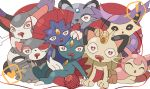 ! :3 all_fours alolan_form alolan_persian black_sclera closed_eyes delcatty drooling forehead_jewel furry gen_1_pokemon gen_2_pokemon gen_3_pokemon gen_4_pokemon gen_7_pokemon glameow hand_on_another's_head happy heart heart-shaped_pupils looking_at_viewer meowth no_humans open_mouth pokemon pokemon_(creature) purugly red_eyes sitting skitty smile sneasel speech_bubble spoken_exclamation_mark spoken_heart symbol-shaped_pupils wavy_mouth weavile whiskers wide-eyed yarn_bell yukifuri_tsuyu