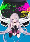 1girl bare_shoulders between_legs black_choker blonde_hair blue_background blue_eyes boots braid car choker detached_sleeves expressionless full_body gontyuu ground_vehicle hand_between_legs highres ia_(vocaloid) long_hair looking_at_viewer motor_vehicle multicolored_hair paint_on_face paint_splatter pink_hair pink_skirt pleated_skirt single_thighhigh sitting skirt solo streaked_hair thigh-highs thigh_strap twin_braids two-tone_hair very_long_hair vocaloid wariza white_footwear