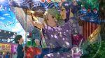 blue_hair dress green_eyes idolmaster_million_live!_theater_days long_hair mochizuki_anna ponytail