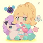:d bag bangs beige_background blonde_hair blue_legwear bow braid chibi clefairy commentary_request cosmog eyebrows_visible_through_hair full_body galar_form galarian_ponyta gen_1_pokemon gen_5_pokemon gen_7_pokemon gen_8_pokemon green_eyes high_ponytail highres horn lillie_(pokemon) muuran open_mouth pleated_skirt pokemon pokemon_(creature) pokemon_(game) pokemon_sm ponyta ponytail puffy_short_sleeves puffy_sleeves shirt short_sleeves signature simple_background skirt smile socks sparkle standing standing_on_one_leg unicorn vanillite white_bow white_shirt white_skirt